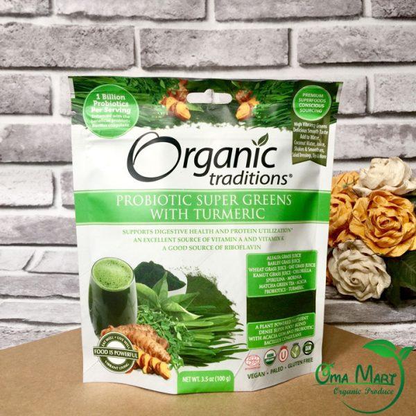 Bột lợi khuẩn siêu thực phẩm xanh hữu cơ Organic Traditions