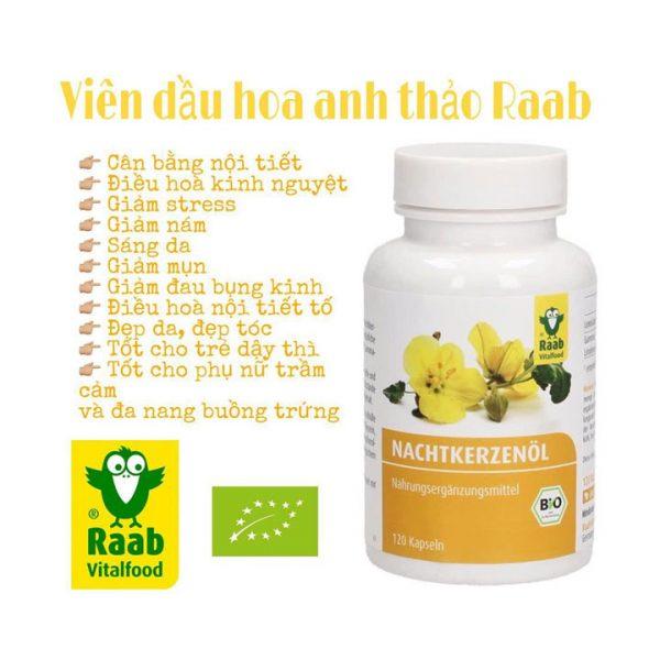 Viên dầu hoa anh thảo hữu cơ Raab