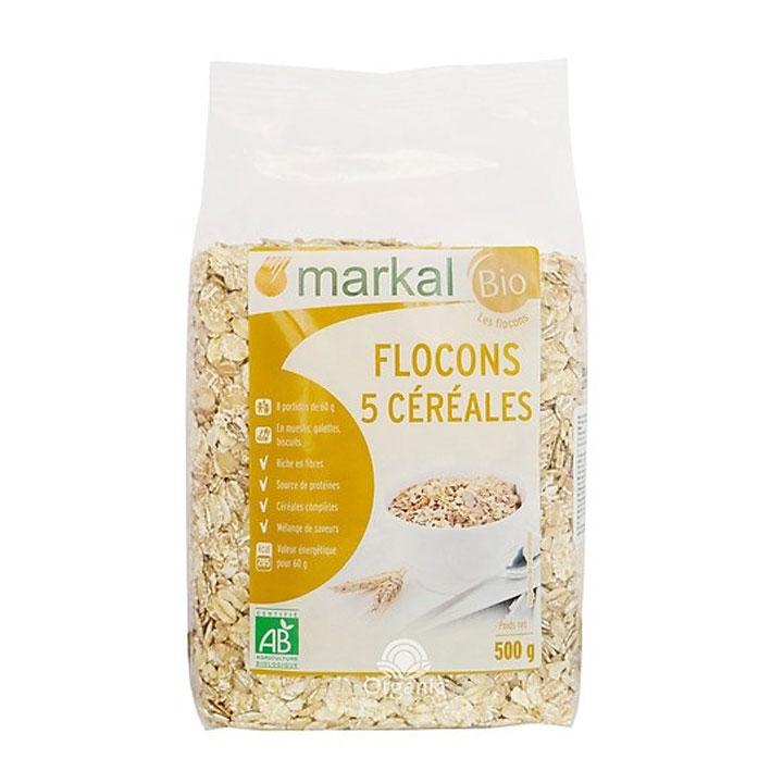 Ngũ cốc 5 loại hạt cán dẹp hữu cơ Markal 500g - Omamart.vn
